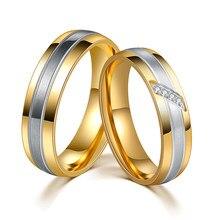 Кольцо из нержавеющей стали золотого и серебряного цвета с фианитом, обручальное кольцо для пар, модные ювелирные изделия для помолвки, кач...