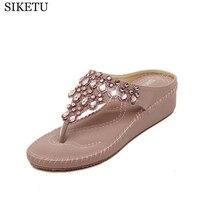 2016 New Bohemia Slope With Women Shoes Sandals Shoes Korean Rhinestone Flip Flops Sandalias Mujer S250