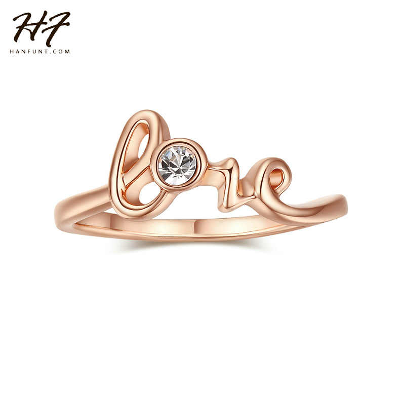 Top Quality Concise Crystal LOVE Ring for Women Rose White Gold Color Austrian Crystals Full Sizes Valentine's Day Gift R194
