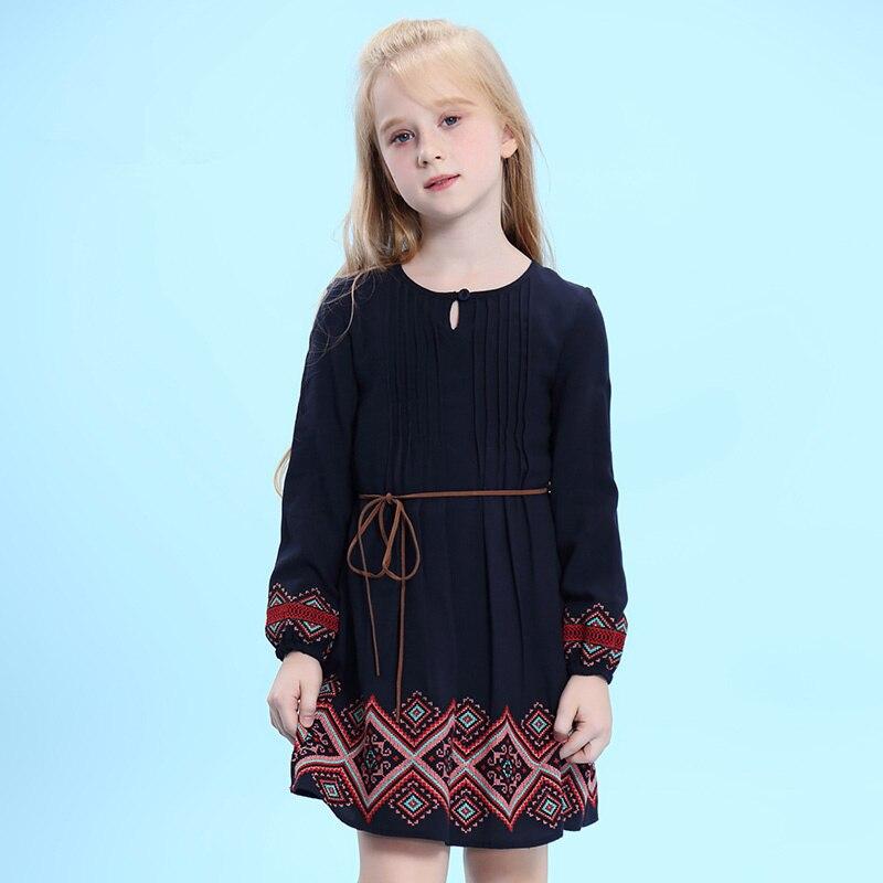 WL. MONSOON child 2018 printemps et automne filles coton lâche robe nationale vent broderie robe robe littéraire