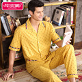 Homens de Verão de Manga curta Conjuntos de Pijama de Algodão Amarelo Polka Dot Homewear Pijamas Masculino Sleepwear Ocasional Turn-down Collar Sono salão