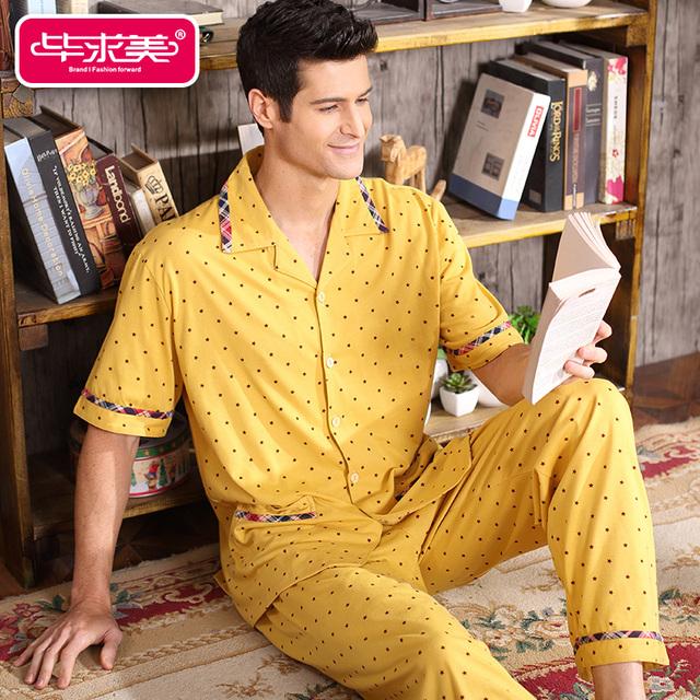 Los Hombres de Verano de Manga corta Pijama de Algodón Amarillo Pijamas ropa de Noche Masculina Ocasional Da Vuelta-abajo del punto de Polca Homewear Sueño salón
