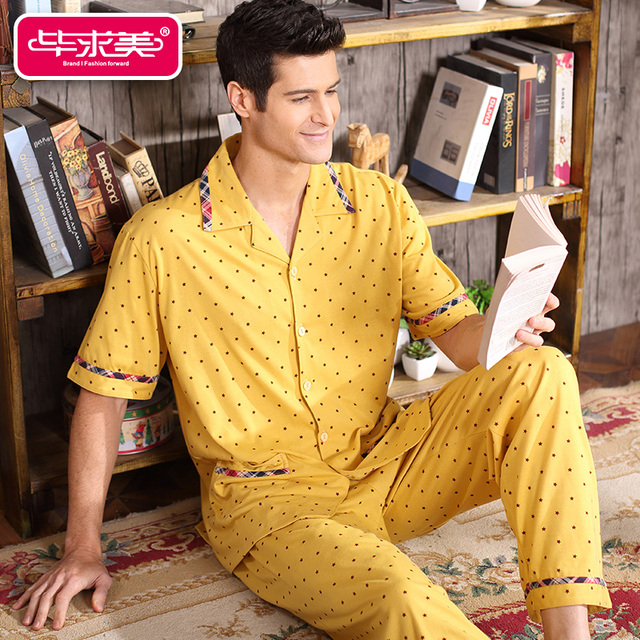 Short Sleeve Summer Men Pajama Sets Cotton Yellow Pyjamas Male Sleepwear Casual Polka Dot Homewear Turn-down Collar Sleep Lounge