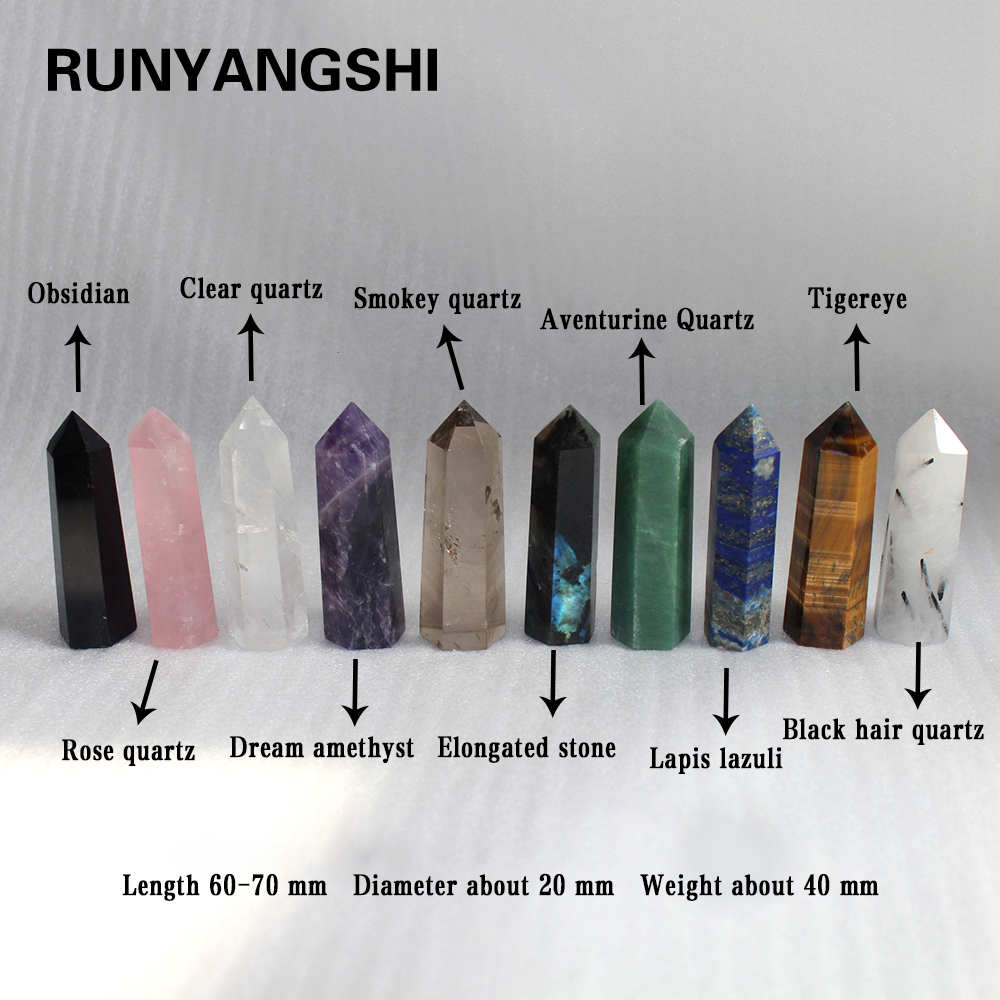 100% Natural Crystals Of Various Materials  Treatment Stone Quartz Hexagonal Prism Crystal Column Decoration Ornament For Gifts