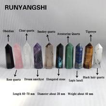 Cristaux 100% naturels de divers matériaux, pierre de traitement, Quartz, prisme Hexagonal, colonne de cristal, ornement de décoration, cadeaux