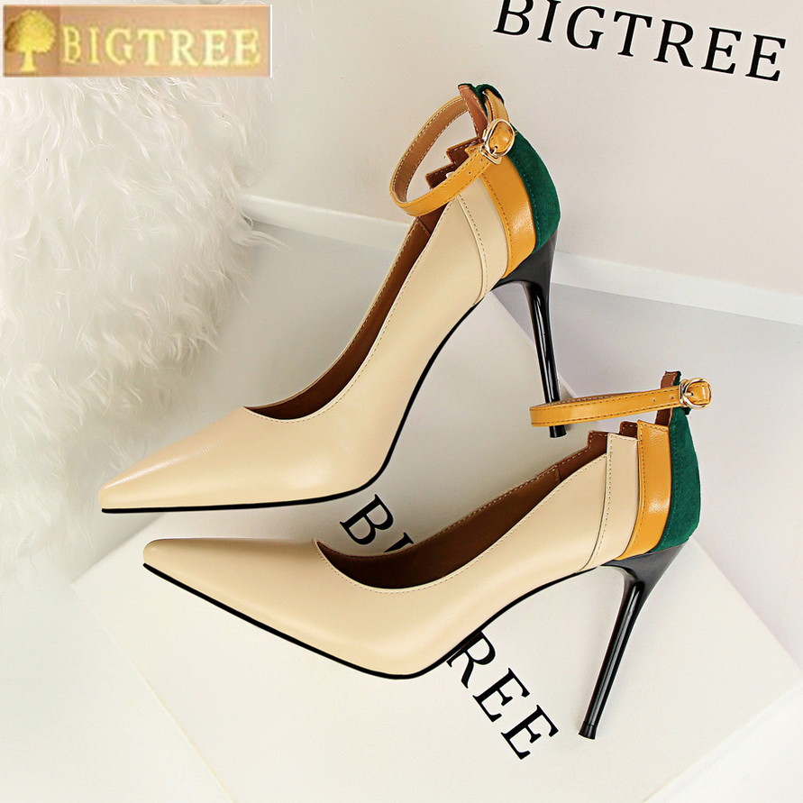 Mixed Colors Buckle Retro Women Pumps 2018 New PU Leather Shallow Fashion High Heels Shoes Sexy Pointed Toe Women's Party Shoes