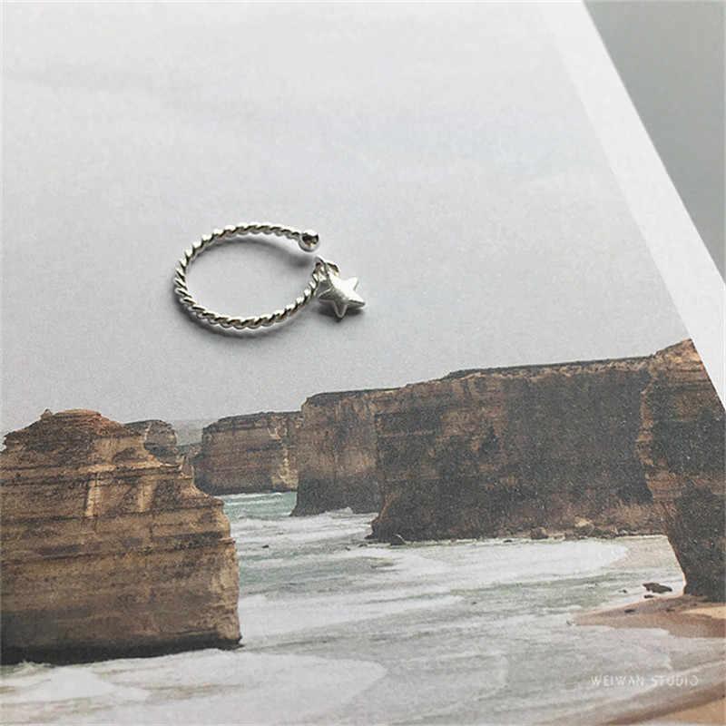 Богемное Новое Серебро 925 Звездные Кольца для женщин женские панк винтажные открытые античные кольца массивные ювелирные изделия из стерлингового серебра Anillos