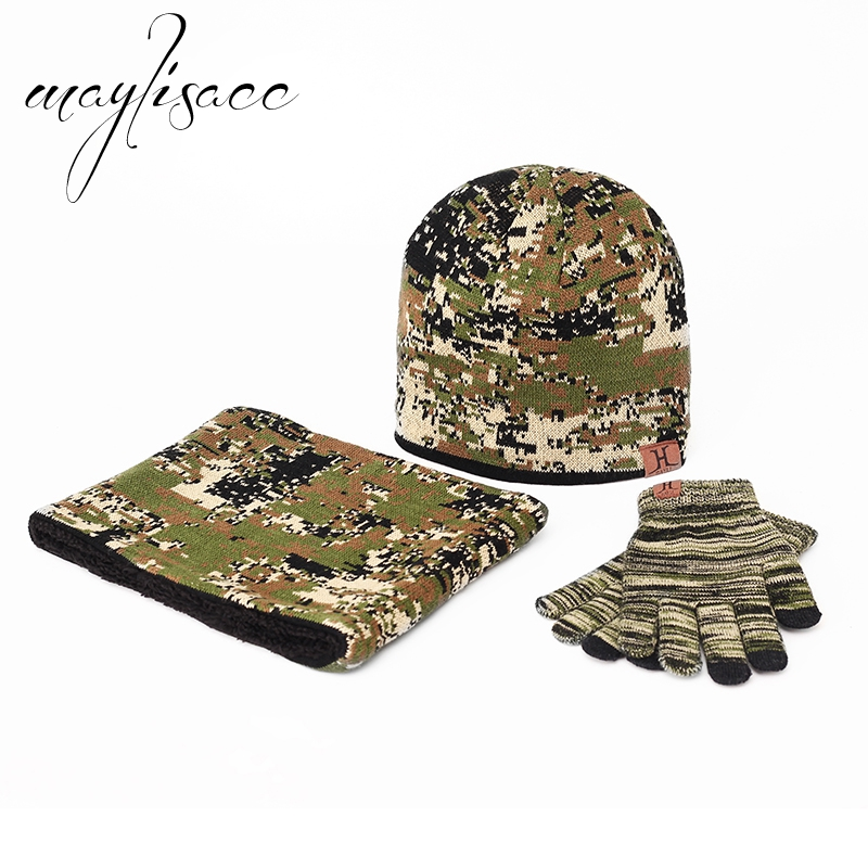 Maylisacc 3 Pcs Winter Warm Knitted Hat Cap Scarf With Gloves Camouflage For Women Men Fashionable Outdoor Sports Cap Scarf Set