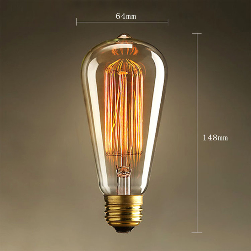 Edison LED Light Bulb E26/E27 Base Vintage Tungsten Wire 110V / 220V ST64 LED Bulb For Restaurant,Home,Reading Room,Office