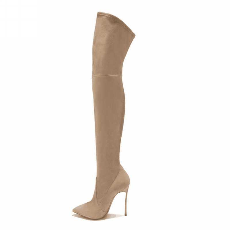 2019 Phong Cách Mới Giày Bốt Nữ Giày Trên Đầu Gối Giày Đùi Cao Cấp Mùa Đông Thời Trang Phong Cách Giày Mũi Nhọn Giày Cao Gót Giày
