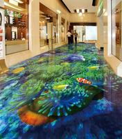 3d flooring Underwater world dolphinl for living room Underwater world dolphin floor tile photo wallpaper wall mural