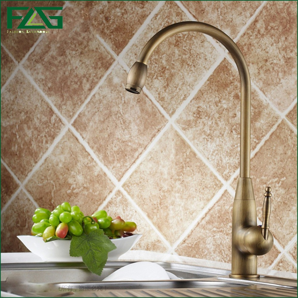 Cheap Kitchen Faucet Deck Mounted Solid Brass 360 Degree Rotating Griferia Cocina Antique Brass Kitchen Faucet