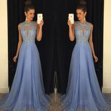 Lavender 2016 Prom Dresses Lace Applique Beads 2017 Formal Long Bridesmaid Dresses A Line O Neck Zip Back Chiffon Party Gowns