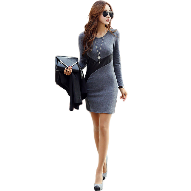 New Spring  2017 Bodycon Casual Party Cocktail Mini Dress Long Sleeve PU Leather