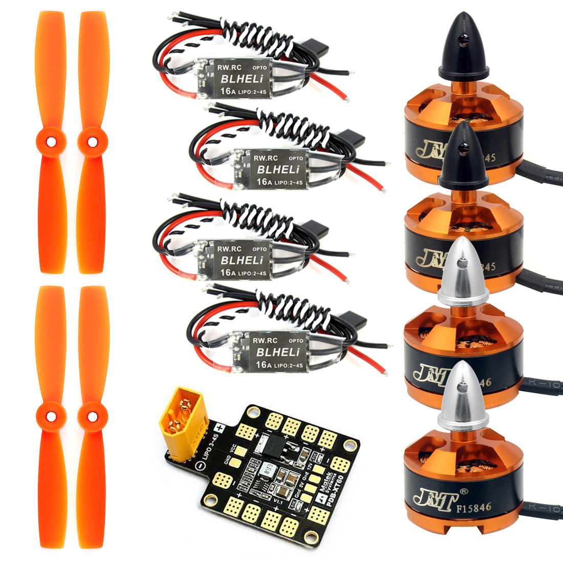 Combo Kit for 250 210 RC Quadcopter : 4x1806 2400KV Brushless Motor+Mini BLHeli OPTO 16A ESC+5045 Propellers CW CCW with PDB BEC jmt 1806 2400kv clockwise cw ccw brushless motor mini multi rotor motor for 250 across fpv 260 rc quadcopter aircraft