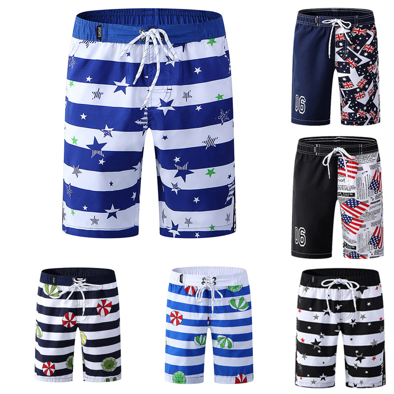 Brand New Boys Striped Swim   Shorts   Summer Causual   Board     Shorts   Quick-Dry Swimwear Beach Wear Sports Five Pants Plus Size 2XL