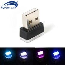 MODERN CAR LED Atmosphere Lights USB Plug Auto Interior Decorative Light Emergency Lamp Universal Ice-blue Blue White Red Pink