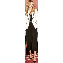 Jacket+Pants Women Business Suits Fashion Ivory Jacket Black Lapel Pants Female Office Uniform Ladies Formal Trouser Suit