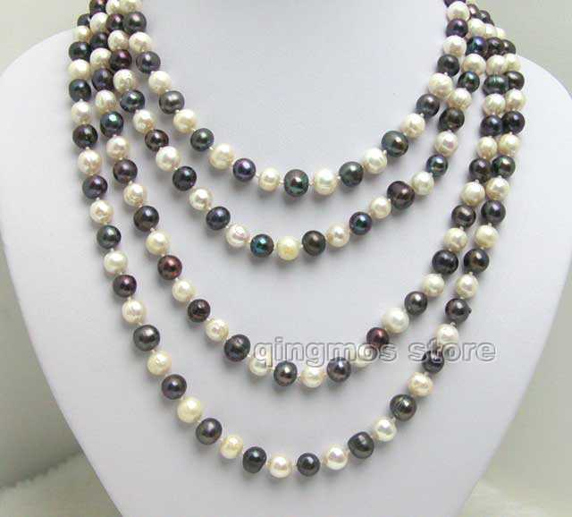 SALE Super Long 80 White & black Big 8-9mm Natural Freshwater Pearl Necklace -nec5008 Free shipping Free shipping free shipping white black 100