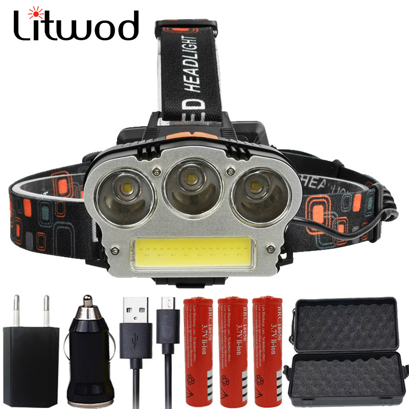 Litwod z202511 Headlamp 12000 Lumen Chips 3x XM-L T6 LED Head Lamp Flashlight Lanterna 7 Switch Model Led Headlight For Camping fenix hp25r 1000 lumen headlamp rechargeable led flashlight
