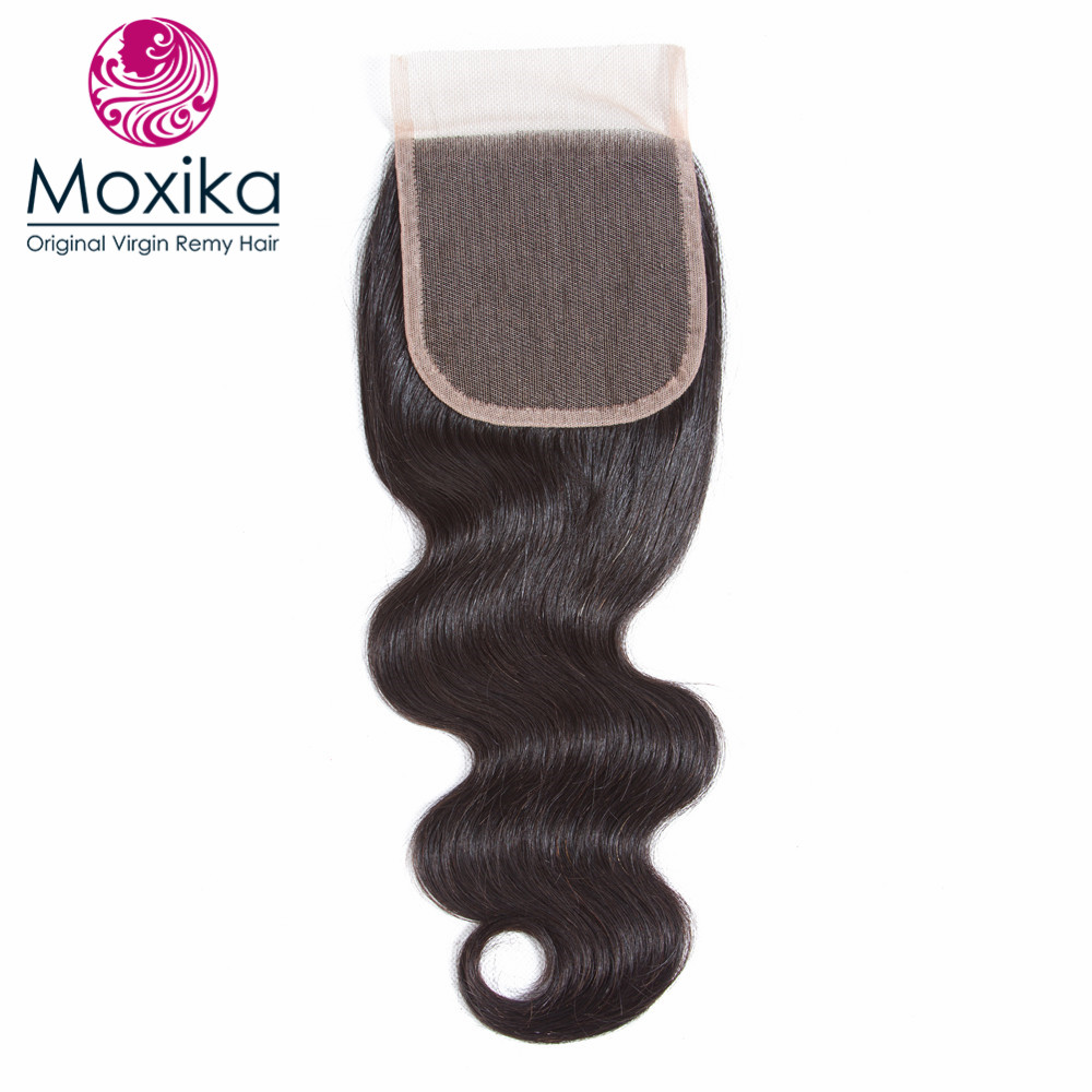Moxika Remy Hair Brazilian Body Wave Human Hair 1 Bundle With Closure 4x4 Middle Part Pre Plucked With Baby Hair Bleached Knots