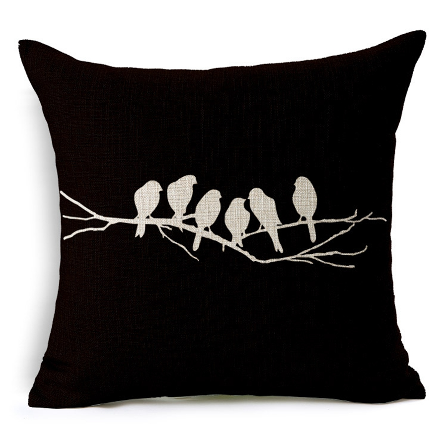 Hot Sale Pillow Covers Bird Talking on Branch Pattern Hot New Design 45X45CM Linen Pillow CoverHome Decorative Linen Cushion