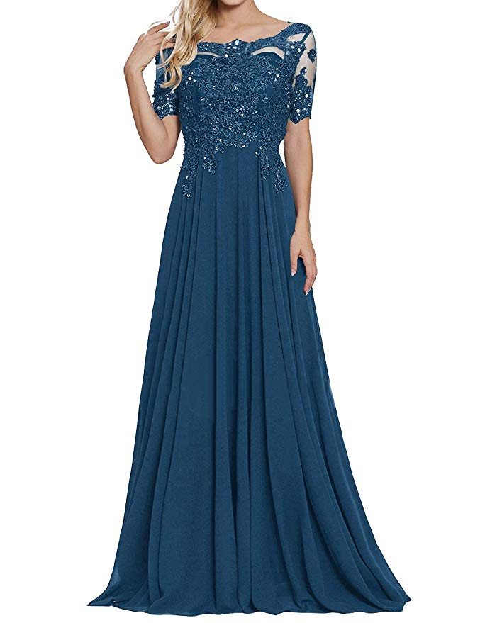2019 Women's Chiffon Appliques Beaded A Line Short Sleeve Mother Of The Bride Dress Vestidos De Madrina De Boda Largos