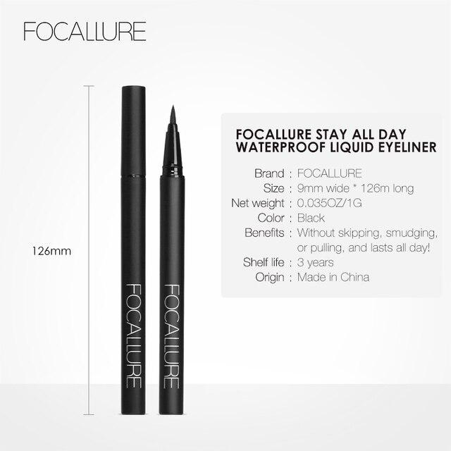 FOCALLURE Liquid Eyeliner waterproof long lasting Black Gel eye liner easy to wear  black eyeliner pen Women Eye Makeup 5
