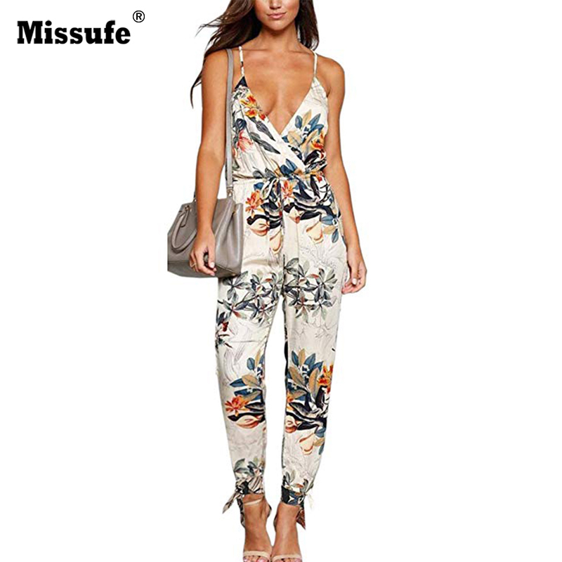 Missufe V Neck Sexy Bodysuits Women With Belt Body Femme Macacao Feminino Floral Playsuit Overalls Print Spring Summer   Jumpsuit
