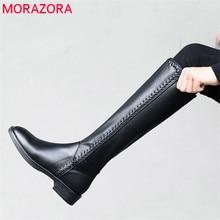 MORAZORA 2020 ใหม่มาถึงของแท้หนังเข่าสูงรองเท้าผู้หญิงรอบToeรองเท้าฤดูใบไม้ร่วงฤดูหนาวสีทึบแฟชั่นรองเท้า