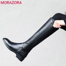 MORAZORA 2020 neue ankunft echtem leder knie hohe stiefel frauen runde kappe herbst winter stiefel solide farben mode kleid schuhe