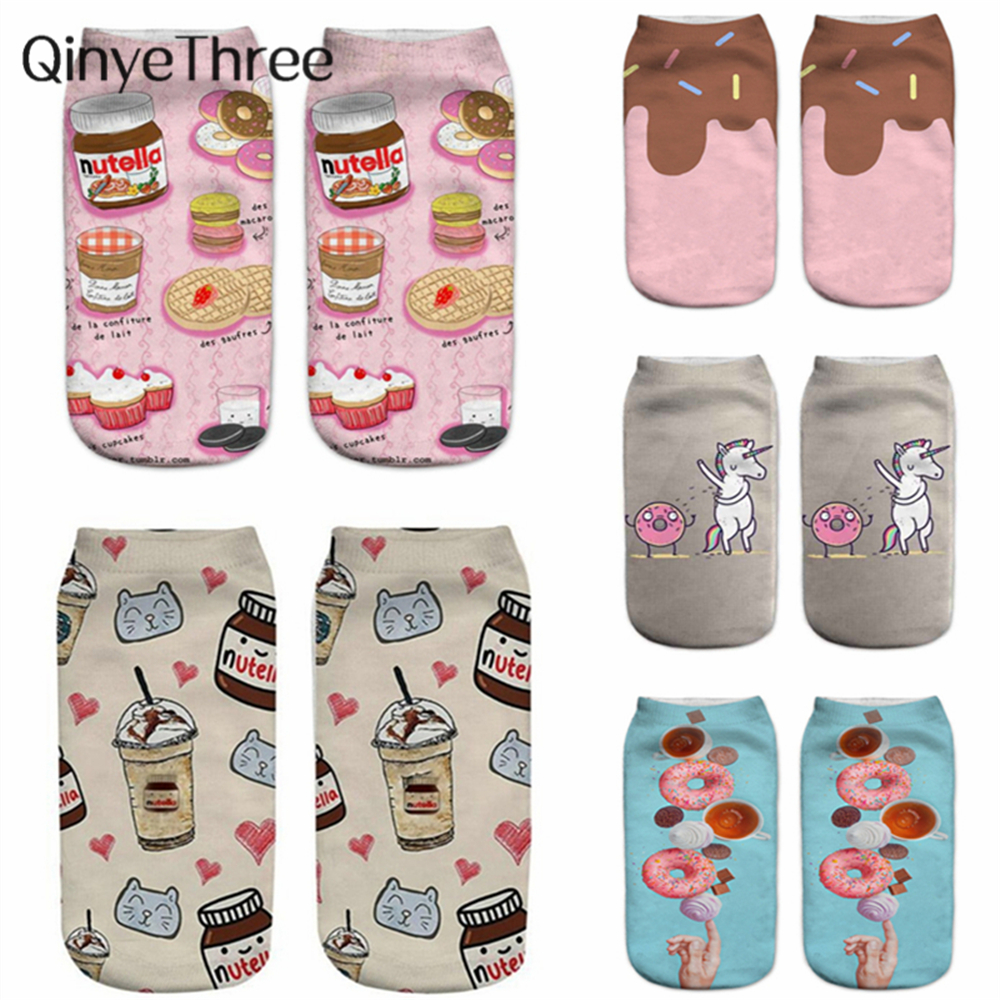 2019 New Donut Nutella Food Fruit Printi 3D   Socks   Women Kawaii Ankle Cute Emoji Funny   Socks   Happy Calcetines Unisex sokken