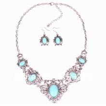 HOT new New luxury silver Women Green color Rhinestone bohemia heavy indian bridal jewelry sets
