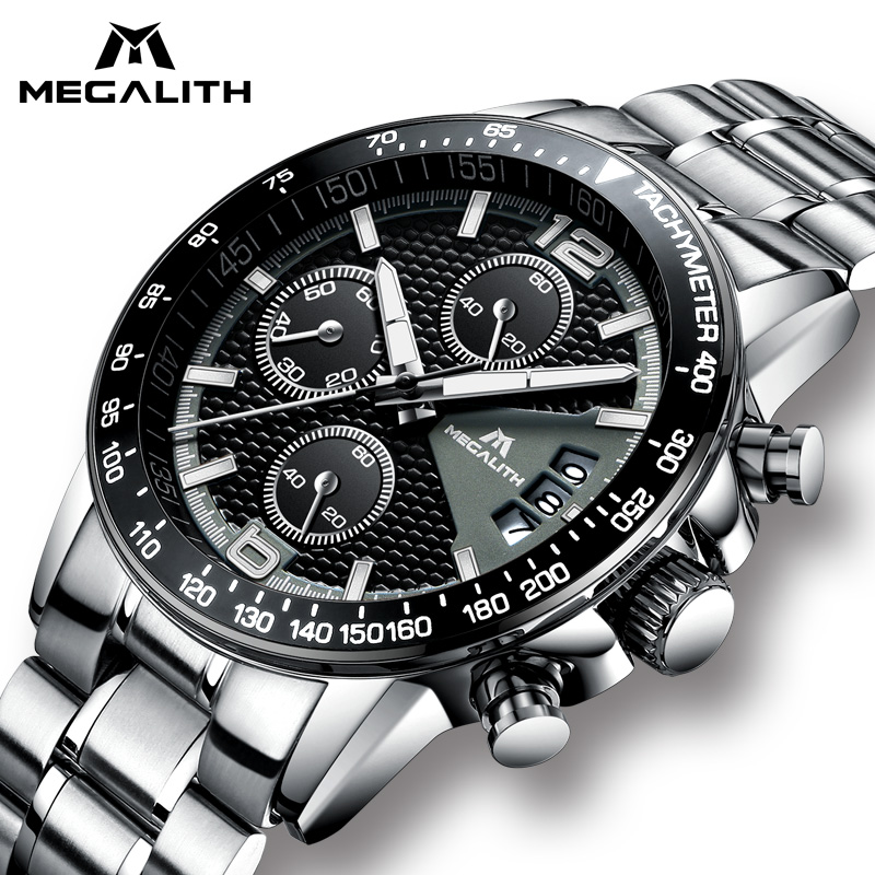 MEGALITH Brand Men Watch Chronograph Stainless Steel Watches Men Waterproof Quartz Watch Gents Luxury Casual Business Wristwatch megalith quartz watches mens waterproof chronograph calendar silver stainless steel wrist watch gents sport business men s watch