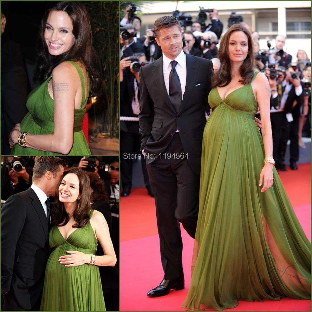 0bccfd528cf Elegant Spaghetti Strap Chiffon Ruched Green Angelina Jolie Red Carpet Dresses  Plus Size Maternity Celebrity Evening Gown GR46