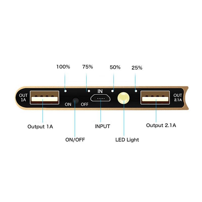 imágenes para 10000 mAh Banco de Alimentación Cargador Portátil + luz led de Energía de Reserva 2 USB Cargador de Batería Externo para el Teléfono Envío Rápido