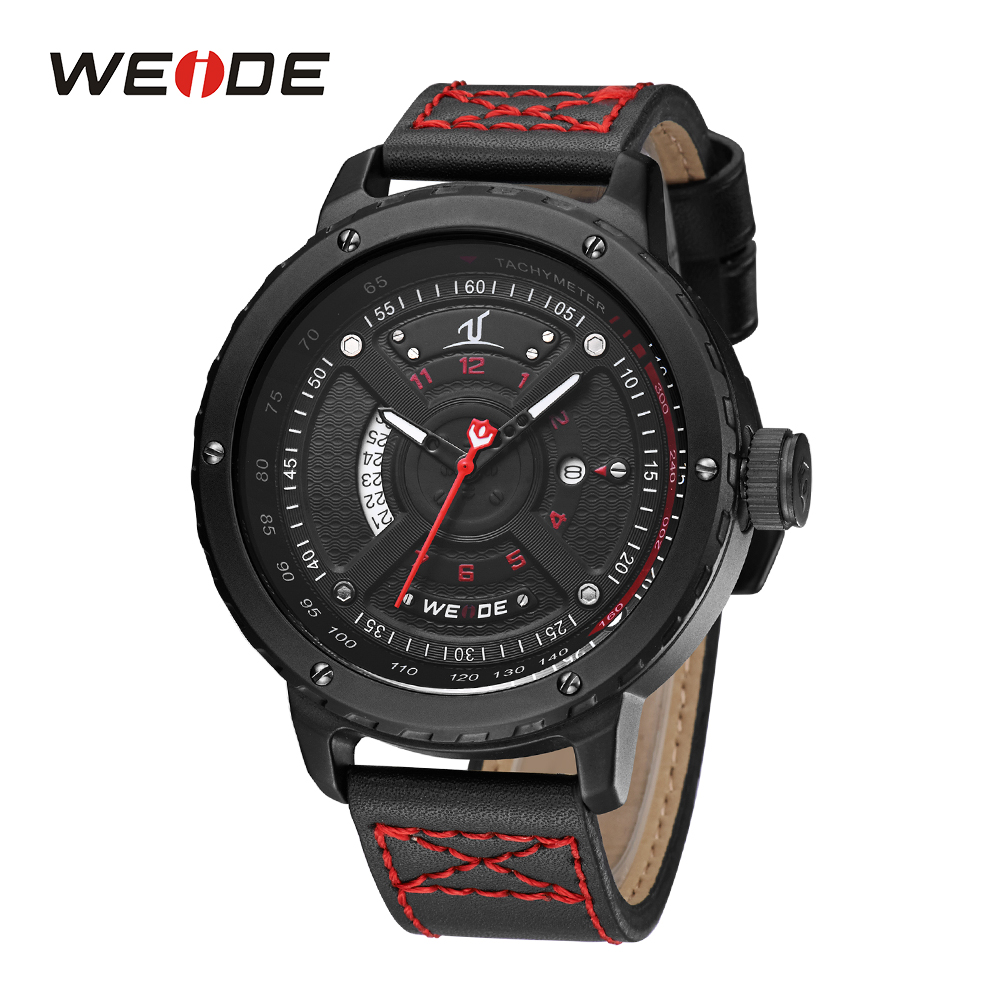 WEIDE Men Sport Watches Quartz Army Military Watches Clock Leather Strap Men Top Brand Luxury Male Man Relogio Masculino 2018 skmei sport watches men luxury brand nylon strap men army military wristwatches clock male quartz watch relogio masculino 2017