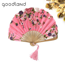 Free Shipping High Quality 1PC with Delicate Packaging Japanese Fabric Floral Pattern Pocket Folding Bamboo Fans For Girls Women(China)