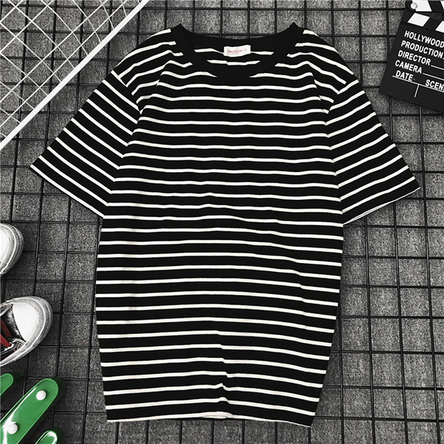 19328689e92 US $2.8 28% OFF|Bigsweety Women Short Sleeve T Shirt Classic Black White  Striped T shirt Women Loose T shirt Casual Tope Tees Harajuku Tshirt-in ...