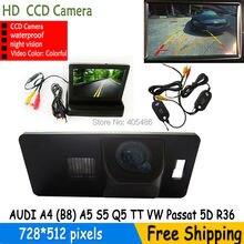 Беспроводной Цветной CCD Автомобильная камера заднего вида для AUDI A1/A4 (B8)/A5 S5 Q5 TT/VW PASSAT 5D R36 с складная 4.3 Дюймов TFT ЖК-Монитор