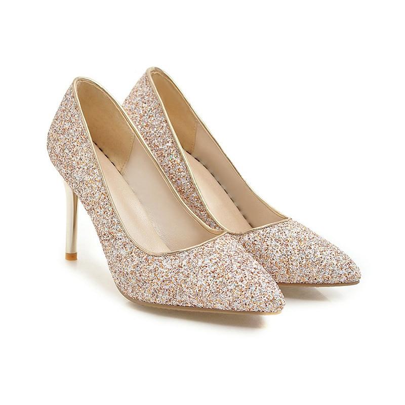 Glitter Wetkiss Female scarpe Shallow Thin Gold punta Women a Spring Heels scarpe Wedding Pumps Blue Red Donna New High Bling 2019 wqOxpv4rw