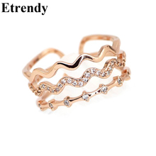 Womens Multi Layer Wave Zircon Open Rings Fashion Bijoux Elegant Gold Plated Jewelry All Match
