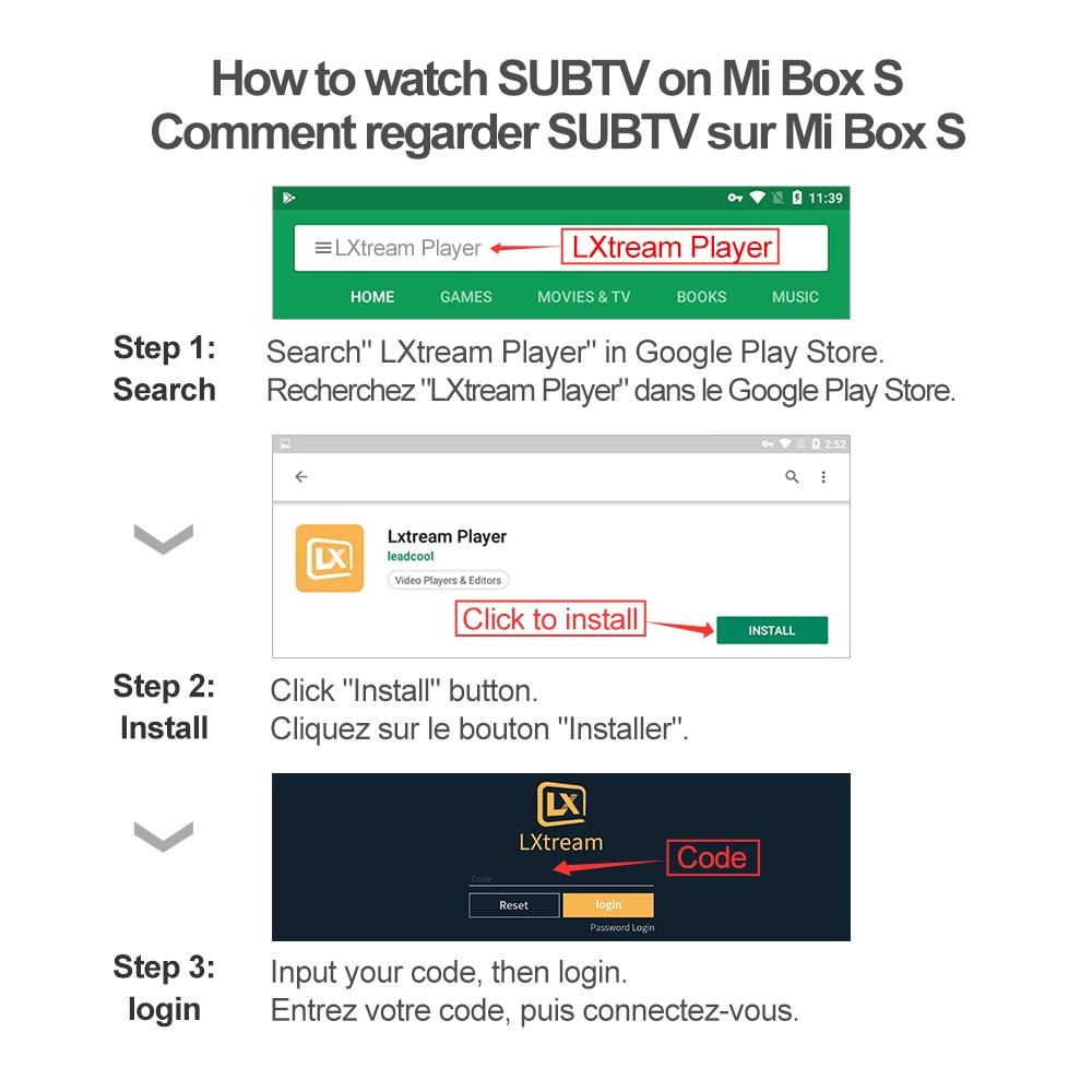 4 K IPTV France Box Mi Box S 4 K HDR Android 8.1 2G 8G WIFI Google Cast avec SUBTV IPTV Code 1 an Full HD arabe français IP TV - 2