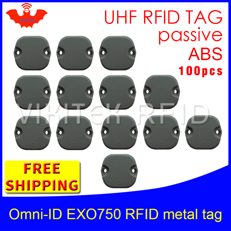 UHF RFID metal tag omni-ID EXO750 915m 868mhz Impinj Monza4QT EPC 100pcs free shipping durable ABS smart card passive RFID tags uhf rfid anti metal tag omni id adept 500 915m 868m gas cylinder management alien higgs3 epcc1g2 6c smart card passive rfid tags