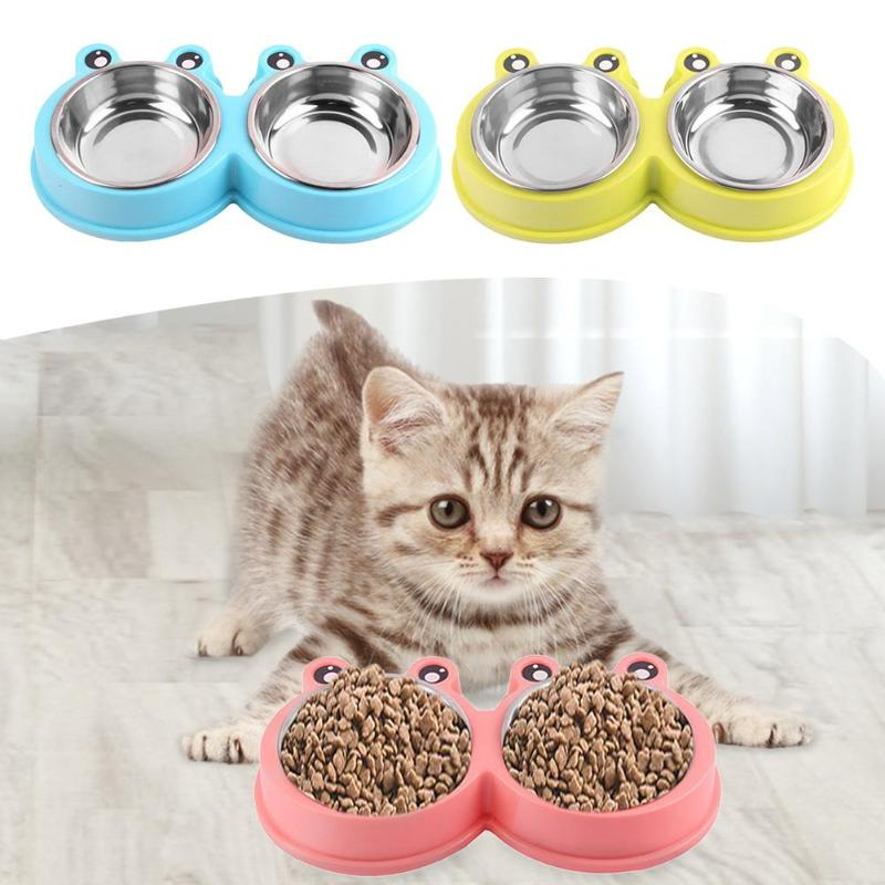 Stainless Steel Double Pets Dog Cat Bowl Non-Slip Puppy Food Drinking Water Feeder Bowl For Cat Dogs Supply