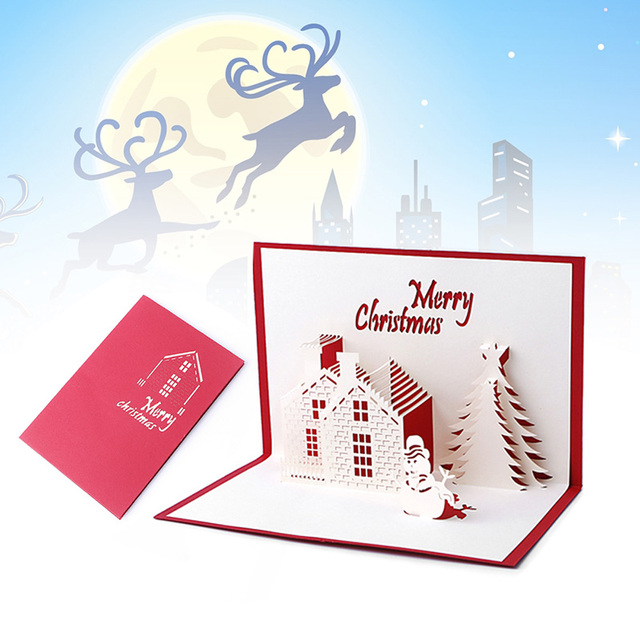 Handicraft 3D Christmas hut Castle Holiday Cards Pop Up Greeting