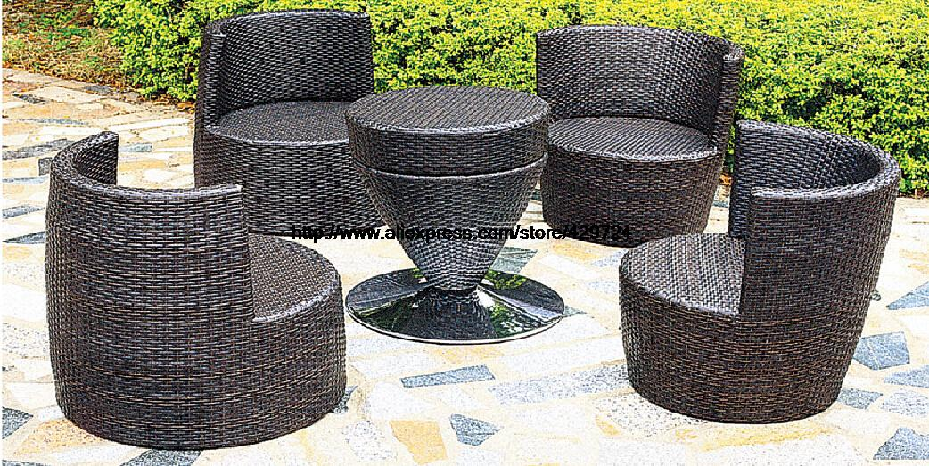 Creative Bottle Combination Outdoor Sofa Furniture Set Garden Chair Table Sofa Set Combination Wicker Patio Furniture HFA115 circular arc sofa half round furniture healthy pe rattan garden furniture sofa set luxury garden outdoor furniture sofas hfa086