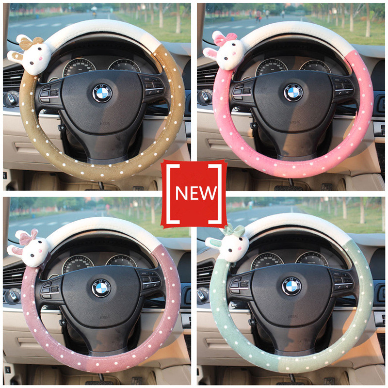 Cartoon Cute Car Steering Wheel Cover Short Plush Steering Covers Cases For Sweet Girls Car