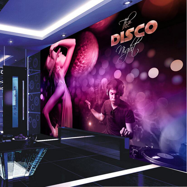 Custom Photo Silk 3D Wallpaper For Walls 3 D Bars Night Club KTV Private Party Music