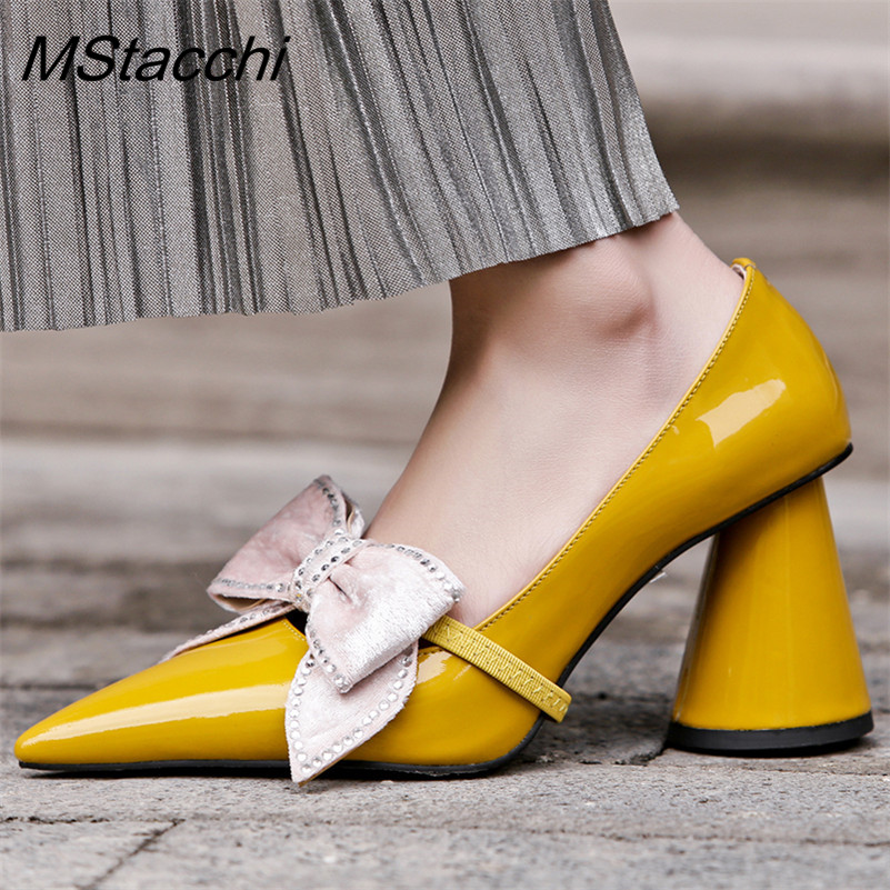 MStacchi Spring New Fashion Patent Leather Women Pumps Super High Heels Pointed Toe Slip-On Sweet Bowtie Party Shoes Women Shoes